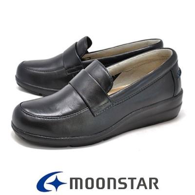 レディース ムーンスター スポルス 0232 ブラック 本革 コンフォートシューズ 3E 軽量 MOONSTAR SPORTH スリッポン