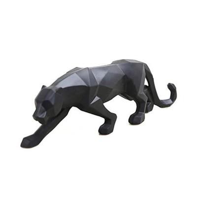 wyhweilong ブラックパンサー彫刻 モダン 幾何学的 樹脂 ヒョウ像 野生動物 装飾 ギフト ブラック