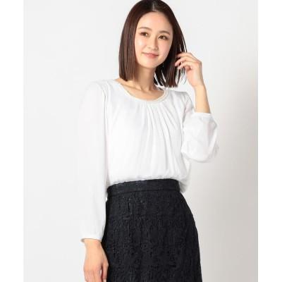 【ミューズ リファインド クローズ】 ストライプビジュー付裏地付ブラウス レディース シロ M MEW'S REFINED CLOTHES
