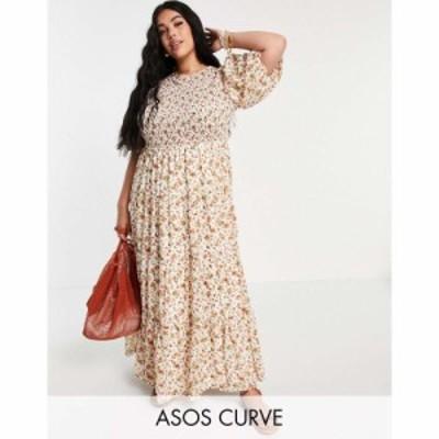 エイソス ASOS Curve レディース ワンピース Aライン ワンピース・ドレス Curve Shirred Tiered Maxi Dress In Cream Floral Print