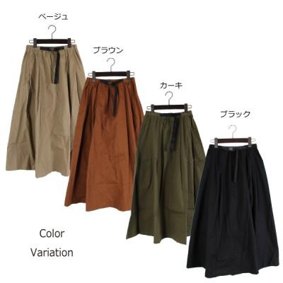 綿ツイルテープベルトスカート(ブラウン×M)