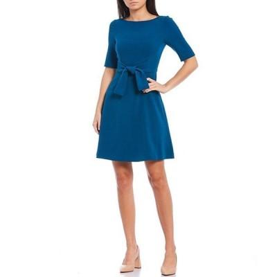 ヴィンスカムート レディース ワンピース トップス Short Sleeve Belted A-Line Crepe Dress