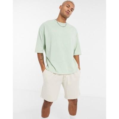 エイソス メンズ Tシャツ トップス ASOS DESIGN oversized t-shirt with half sleeve in heavyweight pastel green acid wash Grayed jade