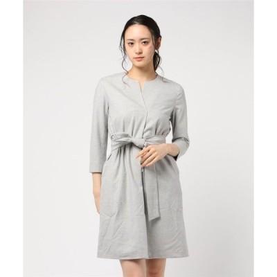 ドレス ブローチ付きウールワンピースドレス