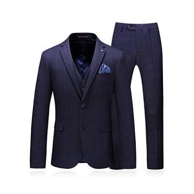 BLFGNCOB スリーピーススーツ メンズ フォーマルスーツ 3ピース スリムスーツ ビジネス 礼服 秋冬 セットアップ ブルー
