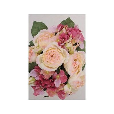 フェイクグリーン リアル おしゃれ 造花 ディスプレイ 飾り レトロ アンティーク調 ローズ ミックスブッシュ