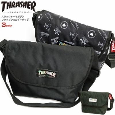 THRASHER バッグ スラッシャー ショルダーバッグ スラッシャーマガジン フラップショルダー 無地 ロゴ パイソン柄 THRASHER-THR-106