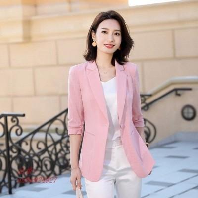 7分袖 スーツ 夏 20代 テーラードジャケット 通勤 ベージュ サマージャケット コート ピンク 30代 OL ジャケット 薄手 ホワイト レディース