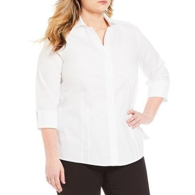 インベストメンツ レディース シャツ トップス Plus Size Taylor Gold Label Non-Iron Y-Neck 3/4 Sleeve Button Front Shirt White