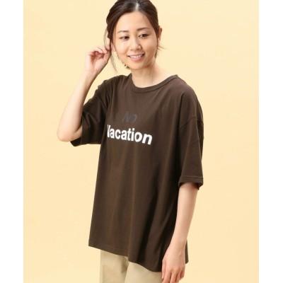 【グランドパーク】 2配色ロゴプリントTシャツ レディース 13ブラウン 99(FREE) Grand PARK