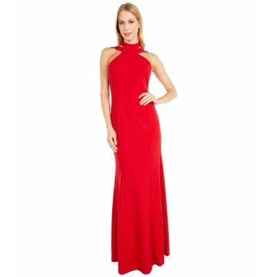 ベベ ワンピース トップス レディース Scuba Crepe Halter Ruffle Dress Red