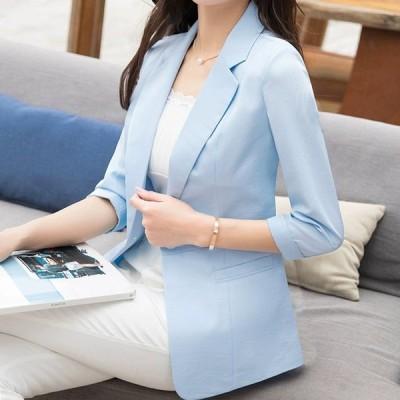 テーラードジャケット 夏 レディース 7分袖 薄手 サマージャケット 通勤 OL オフィス ブルー ジャケット ライトアウター スーツジャケット