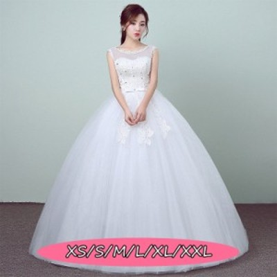 結婚式ワンピース ウェディングドレス 花嫁 高級刺繍 マキシドレス 薄手 セクシー 丸襟 ノースリーブ Aラインワンピース ホワイト色