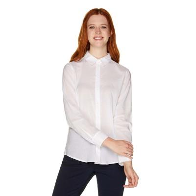 BENETTON (women) コットンシンプルシャツ・ブラウス(ホワイト)【返品不可商品】