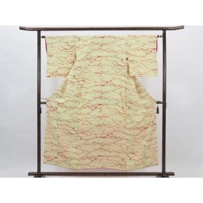 【中古】リサイクル小紋 / 正絹淡黄色袷小紋着物(古着 中古 小紋 リサイクル品)