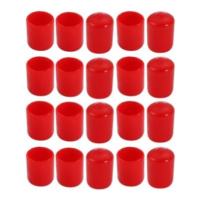 uxcell ビニールエンドキャップ レッド 14mm内径 PVC カバー ネジプロテクター フレキシブル 20個入り