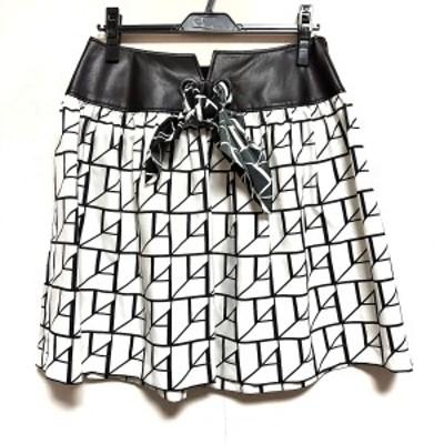 タエアシダ TAE ASHIDA スカート サイズ9 M レディース 美品 - 白×黒 ひざ丈【中古】20210304