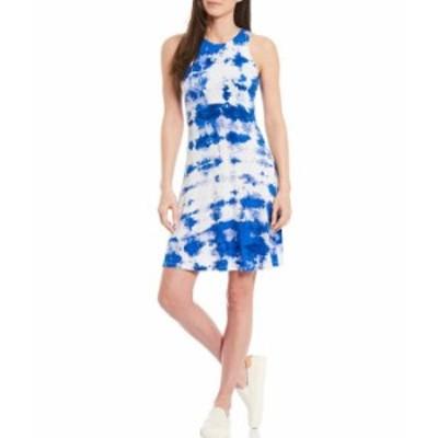 カルバンクライン レディース ワンピース トップス Sleeveless Round Neck Tie-Dye Dress Klein Blue