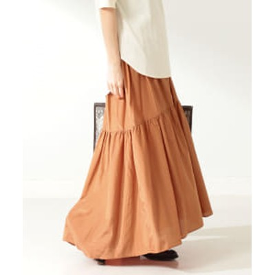 【アウトレット】Demi-Luxe BEAMS / コットンシルク ギャザーロングスカート