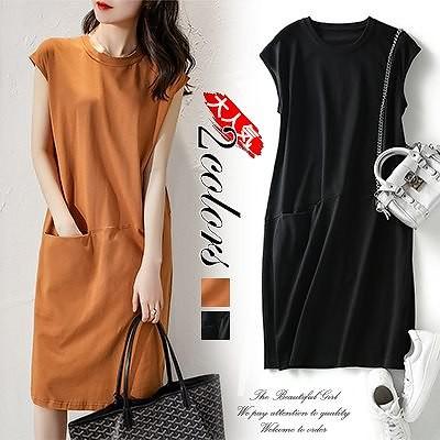 大きいサイズ ドレス レディース ワンピース 夏ファッション緩い、薄いソリッドカラーTシャツドレスレディース 韓国ミドル丈妖精 スカート