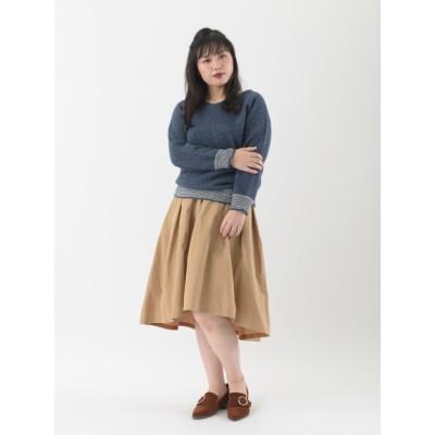 【大きいサイズ】【LL-5L展開】ピーチツイルタックフレアスカート 大きいサイズ 大きいサイズ スカート レディース