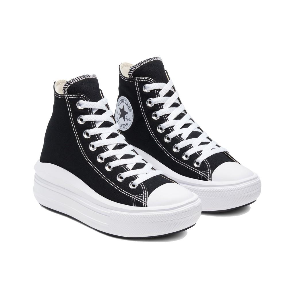 CONVERSE-女款厚底帆布鞋 - 568497C -黑色 All Star Move 厚底 增高