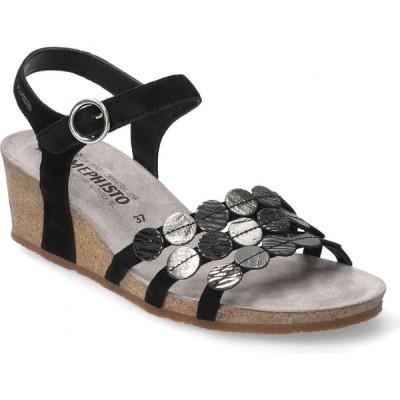 メフィスト MEPHISTO レディース サンダル・ミュール ウェッジソール シューズ・靴 Mephhisto Matilde Wedge Sandal Black Leather
