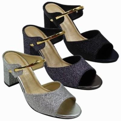 ミュール サンダル レディースシューズ レディースファッション 靴 夏 グリッター チャンキーヒールサンダル 煌びやか アクセサリー感覚