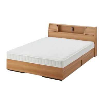 スマホが立てられるフラップ扉の引出し収納付き多機能ベッド(圧縮ボンネルコイルマットレス付き)