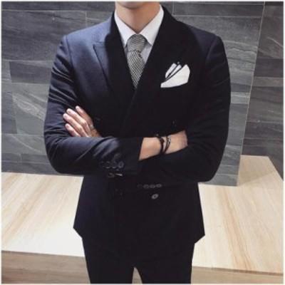 ビジネス スーツ オールシーズン メンズスーツ フォーマル スリム ジャケット+ベスト+パンツ ダブル2ツスーツ 結婚式 就職スーツ