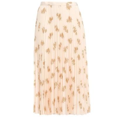 ジョア JOIE レディース ひざ丈スカート スカート pleated floral-print crepe de chine midi skirt Pastel orange