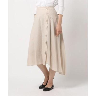 スカート レーヨンリネンサイドボタンスカート