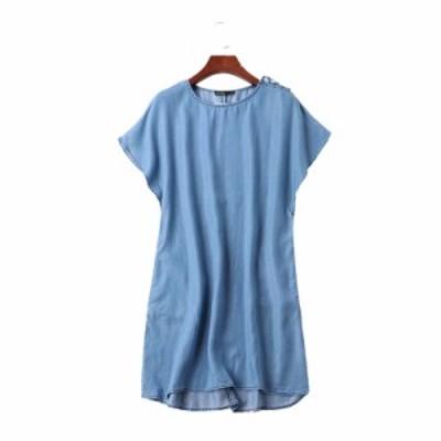 大人カジュアルなワンピース デニムシャツ 夏 おしゃれシャツ リゾートコーデやデートコーデに!