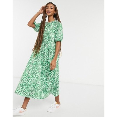 エイソス レディース ワンピース トップス ASOS DESIGN gathered neck midi smock dress in bright green base floral print