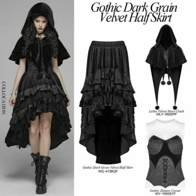 ベルベット ゴシック パンク ドレス ゴシック パンク セクシー  Punk Rave Gothic Victoria Dark Grain Elegant Velvet Irregular Half Women Skirt