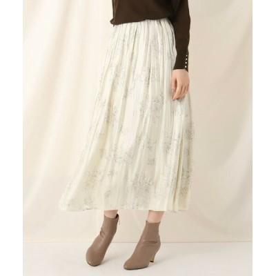 Couture Brooch/クチュールブローチ フラワープリントランダムギャザースカート アイボリー(104) 38(M)