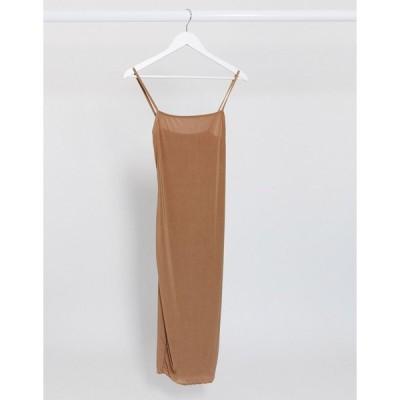 ファッションキラー ミディドレス レディース Fashionkilla going out cami strap midi dress in camel エイソス ASOS