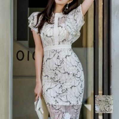 韓国 ファッション レディース ワンピース パーティードレス ひざ丈 ミディアム 夏 春 パーティー ブライダル naloF847 結婚式 お呼ばれ