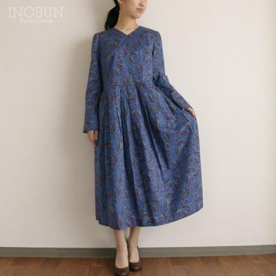 ジェイスローアン J.Sloane リバティ LIBERTY Vネック タックワンピース  Isadora/ブルー セール 日本製