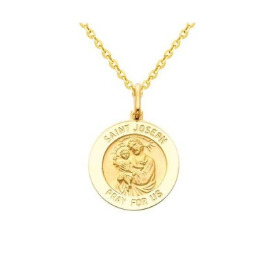 The World Jewelry Center 14k Yellow Gold Religious Saint Joseph Medal
