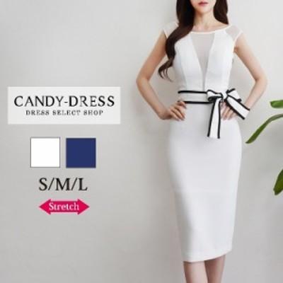 【予約】S/M/L 送料無料 Luxury Dress ストレッチ無地×バイカラーパイピングリボンシースルー切り替えタイトミディドレス GA200603 韓国