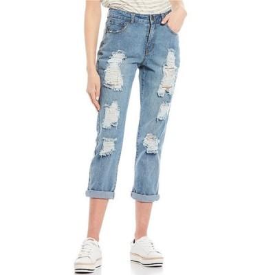 チェルシーアンドバイオレット レディース デニムパンツ ボトムス Destructed Rolled Cuff Boyfriend Jeans