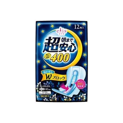 『セール品B』エリス 朝まで超安心 400 特に心配な夜用 羽つき 40cm(12枚入)/ 大王製紙