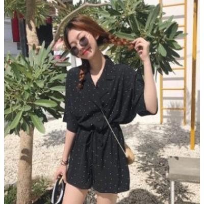 韓国 ファッション レディース オールインワン コンビネゾン ドット柄 ショートパンツ Vネック ゆったり 半袖 カジュアル リゾート