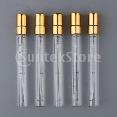 5x空の香水アフターシェーブスプレーボトル詰め替え式ファインミストスプレー10mlゴールド
