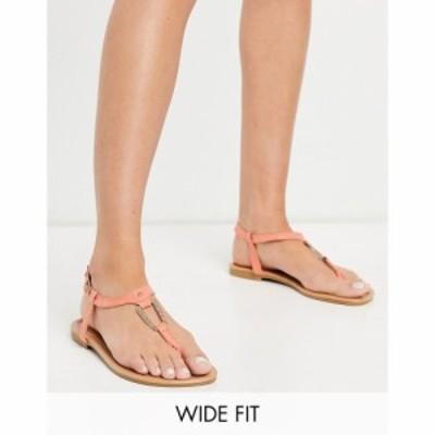 ニュールック New Look Wide Fit レディース サンダル・ミュール フラット シューズ・靴 square hoop detail flat sandal in coral