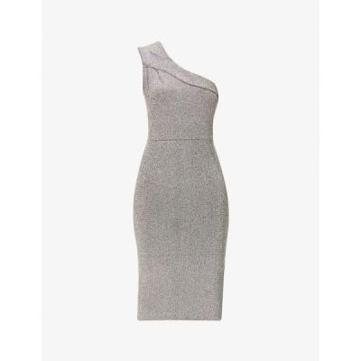 リース REISS レディース パーティードレス ミドル丈 ワンピース・ドレス Lordes one-shoulder metallic stretch-knit midi dress SILVER