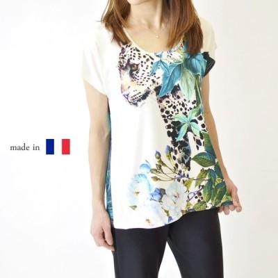 フランス製 レパード柄 半袖カットソー Tシャツ 高級 レディース 女性 ミセスカジュアル 婦人服 50代 60代 鮮やか 大きいサイズ ブルー 母の日 プレゼント