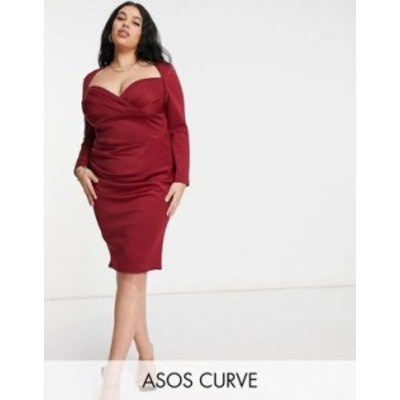 エイソス レディース ワンピース トップス ASOS DESIGN Curve sweetheart neckline long sleeve midi dress in wine Wine