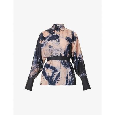 アズディンアライア AZZEDINE ALAIA レディース ブラウス・シャツ トップス Graphic-print silk shirt Blue/nude